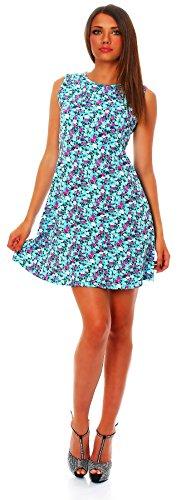 90-01 Mississhop Damen Sommer Kleid Minikleid Top Tunika Shirt Rundhals Hellblau mit Muster L - 1