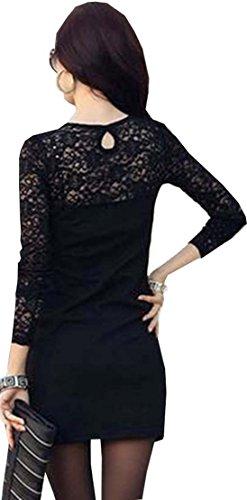 93-43 Japan Style von Mississhop Damen Kleid mit SpitzeTunika Minikleid Longshirt schwarz S - 2