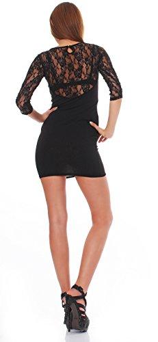 93-43Japan Style von Mississhop Damen Kleid mit SpitzeTunika Minikleid Longshirt schwarz M - 2