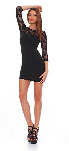 93-43Japan Style von Mississhop Damen Kleid mit SpitzeTunika Minikleid Longshirt schwarz M - 3