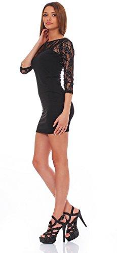 93-43Japan Style von Mississhop Damen Kleid mit SpitzeTunika Minikleid Longshirt schwarz M - 4