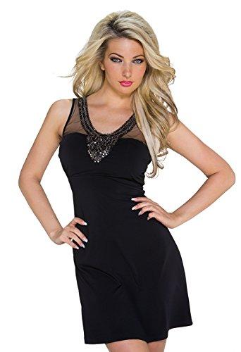 977 Fashion4Young Damen Tailliertes, ärmelloses Minikleid Kleid Partykleid Tüllspitze Gr. 36/38 Schwarz (36/38, Schwarz) - 1