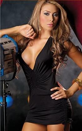 Rückenfreies Clubwear Minikleid mit sexy V-Ausschnitt (schwarz)