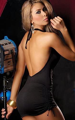 Rückenfreies Clubwear Minikleid mit sexy V-Ausschnitt (schwarz)2