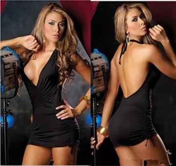 Rückenfreies Clubwear Minikleid mit sexy V-Ausschnitt (schwarz) 3