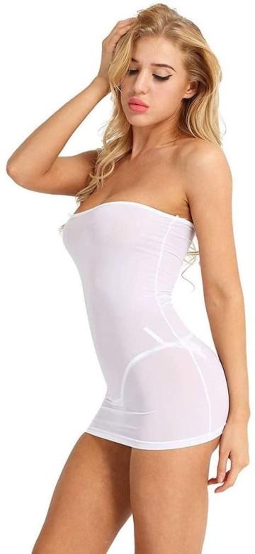 Sexy Micro Kleid schulterfrei in Weiß 2