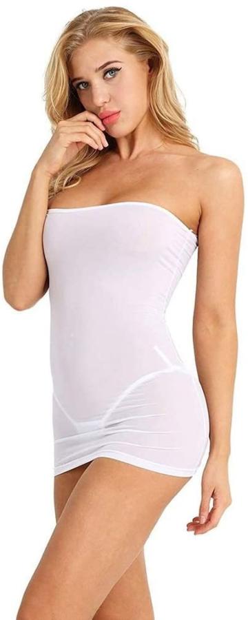 Sexy Micro Kleid schulterfrei in Weiß