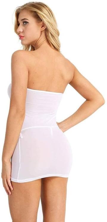 Sexy Micro Kleid schulterfrei in Weiß 4