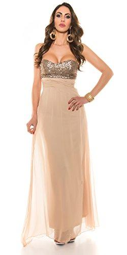 Abendkleid Bustierkleid von KouCla mit Pailletten ANTHRACITE Grau 36 (36, Beige) - 1