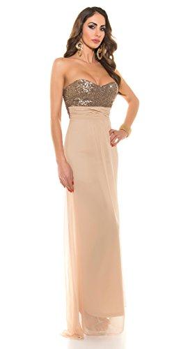 Abendkleid Bustierkleid von KouCla mit Pailletten ANTHRACITE Grau 36 (36, Beige) - 8
