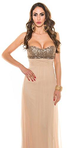 Abendkleid Bustierkleid von KouCla mit Pailletten ANTHRACITE Grau 36 (36, Beige) - 9