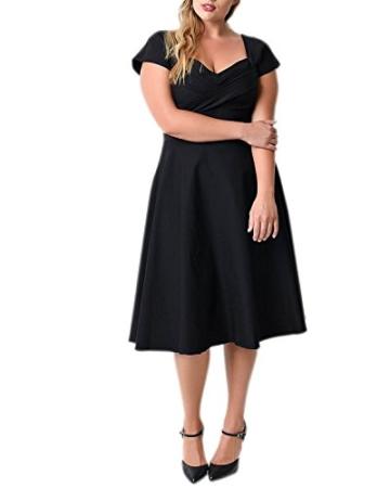 ABYOXI Damen Vintage A-Linie 50er Retro Rockabilly Kleid Knielang Abendkleid Große Größen Schwarz 4XL - 2