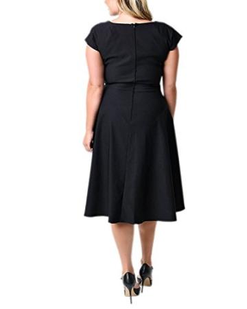 ABYOXI Damen Vintage A-Linie 50er Retro Rockabilly Kleid Knielang Abendkleid Große Größen Schwarz 4XL - 3
