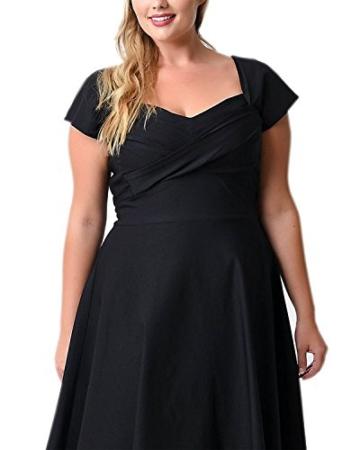 ABYOXI Damen Vintage A-Linie 50er Retro Rockabilly Kleid Knielang Abendkleid Große Größen Schwarz 4XL - 4