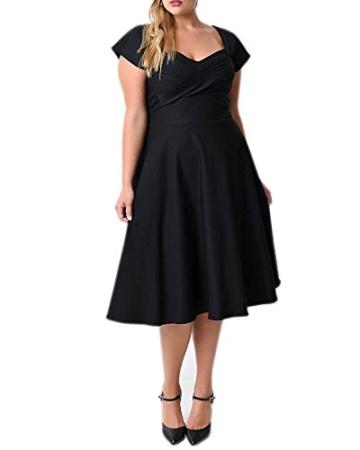 ABYOXI Damen Vintage A-Linie 50er Retro Rockabilly Kleid Knielang Abendkleid Große Größen Schwarz 4XL - 1
