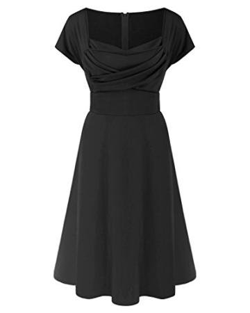 ABYOXI Damen Vintage A-Linie 50er Retro Rockabilly Kleid Knielang Abendkleid Große Größen Schwarz 4XL - 5