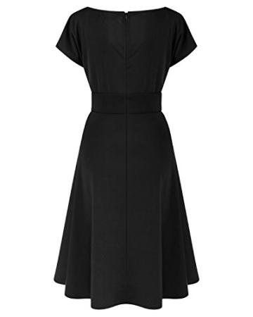 ABYOXI Damen Vintage A-Linie 50er Retro Rockabilly Kleid Knielang Abendkleid Große Größen Schwarz 4XL - 6