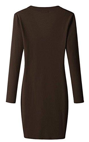 ACEVOG Damen Etuikleid O-Ausschnitt Langarm Stretch Bodycon Knielang Kleider mit Reißverschluss Herbst Winter 5 Farben Braun Gr.40 - 2