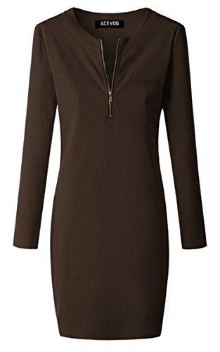 ACEVOG Damen Etuikleid O-Ausschnitt Langarm Stretch Bodycon Knielang Kleider mit Reißverschluss Herbst Winter 5 Farben Braun Gr.40 - 3