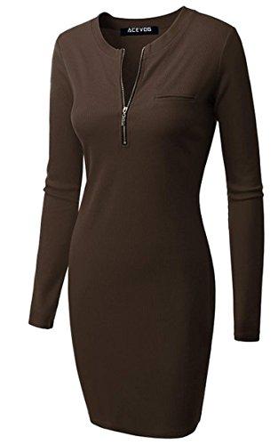 ACEVOG Damen Etuikleid O-Ausschnitt Langarm Stretch Bodycon Knielang Kleider mit Reißverschluss Herbst Winter 5 Farben Braun Gr.40 - 1