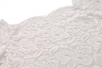 ACEVOG Damen Kleid mit floraler Spitze langärmeliges schulterfreies Kleid Bleistiftkleid Jumper Kleid Cocktail Kleid Paket-Hüfte Minikleid (EU 36(Herstellergröße_S), Weiß) -