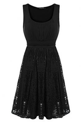 ACEVOG Damen Kleid Sommerkleid Freizeitkleid Partykleid U-Boot Ärmellos A-Linie Spitze Knielang (EU 44(Herstellergröße:XXL), Schwarz) -