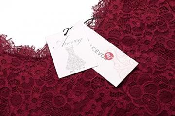 ACEVOG Damen Schulterfreies Spitzekleid mit Langarm Knielang sexy Partykleid Freizeitkleid (EU 38(Herstellergröße_M), Weinrot mit 3/4 Arm) -