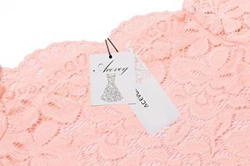 ACEVOG Damen Schulterfreies Spitzekleid mit Langarm Knielang sexy Partykleid Freizeitkleid (EU 42(Herstellergröße_XL), Rosa) -
