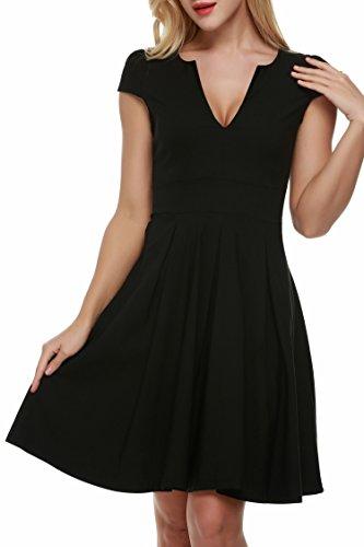 ACEVOG Damen Tief V-Ausschnitt Partykleid Abendkleid Sommerkleid Knielang Kurz Arm -