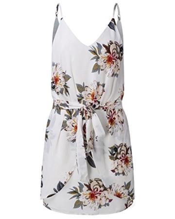 ACHIOOWA Sommerkleid Damen Ärmellos Strandkleid Chiffon V-Ausschnitt Bohemian Casual Sexy Mini Trägerkleid Weiß-707140 2XL - 5