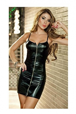 Add Health Damen Wetlook Corsage Minikleid Clubwear Stretch Party Dress Lack Leder (Black 010) -