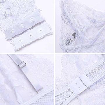 ADOME Dessous Body Wäsche Damen Sexy Bodysuit Tief V-Ausschnitt Reizwäsche Spitze Lingerie Top Einteiliger Negligee Oberteil - 6