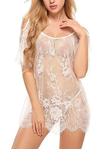 ADOME Dessous Erotik Set kalte Schulter Reizwäsche für Damen Sexy transparenter Spitzen 3/4 Ärmel Nachtwäsche Babydoll mit G-String - 2