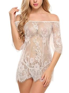 ADOME Dessous Erotik Set kalte Schulter Reizwäsche für Damen Sexy transparenter Spitzen 3/4 Ärmel Nachtwäsche Babydoll mit G-String - 1