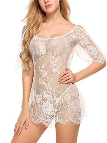 ADOME Dessous Erotik Set kalte Schulter Reizwäsche für Damen Sexy transparenter Spitzen 3/4 Ärmel Nachtwäsche Babydoll mit G-String - 4