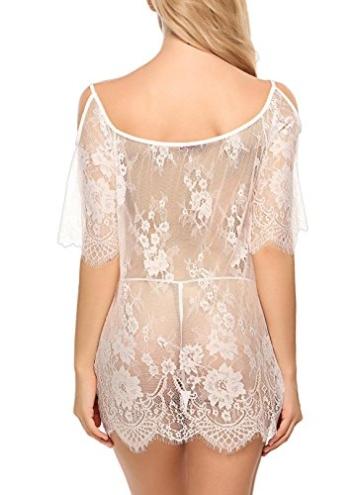 ADOME Dessous Erotik Set kalte Schulter Reizwäsche für Damen Sexy transparenter Spitzen 3/4 Ärmel Nachtwäsche Babydoll mit G-String - 6