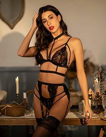 ADOME Erotische Dessous-Set Damen Reizwäsche 4-TGL Erotik Strapse Set Unterwäsche Sexy Spitze BH und Slip Strumpfband für Damen - 7