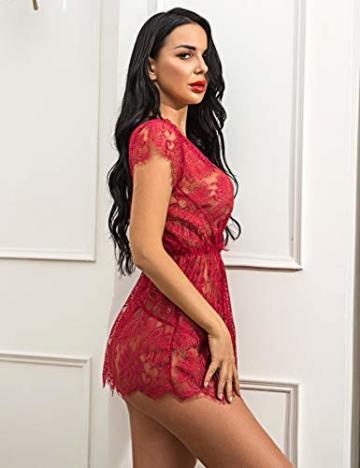 ADOME Reizwäsche Dessous-Sets Lingerie Damen Sexy V-Ausschnitt Nachthemd Spitze Negligee Unterwäsche Set Erotik Sleepwear Kleid - 4