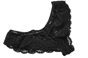 ADOME Spitze Negligee V-Ausschnitt Babydoll Lingerie Öffnen Zurück Nachtwäsche Kleid Dessous Unterwäsche für Damen mit Panties , farbe - A-Schwarz , Gr. EU L - 6