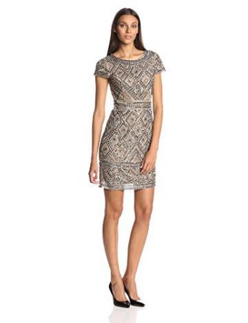 Adrianna Papell Damen Kleid, Cap SLV Bead, GR. 36 (Herstellergröße: Size 10), Beige (nude) - 1