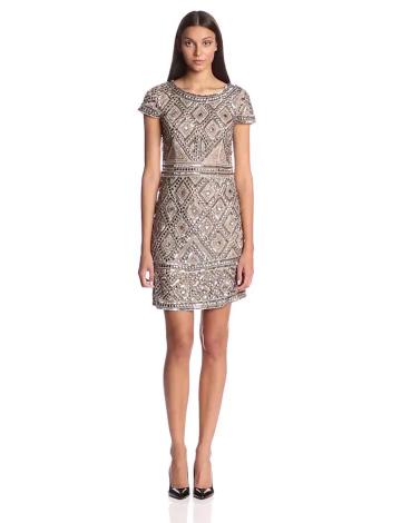 Adrianna Papell Damen Kleid, Cap SLV Bead, GR. 36 (Herstellergröße: Size 10), Beige (nude) - 3