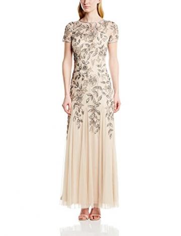 Adrianna Papell Damen Kleid Floral Beaded Godet, Maxi, Gr. 32 (Herstellergröße:Size 6), Beige (Taupe/Pink) - 1