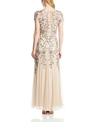 Adrianna Papell Damen Kleid Floral Beaded Godet, Maxi, Gr. 32 (Herstellergröße:Size 6), Beige (Taupe/Pink) - 2