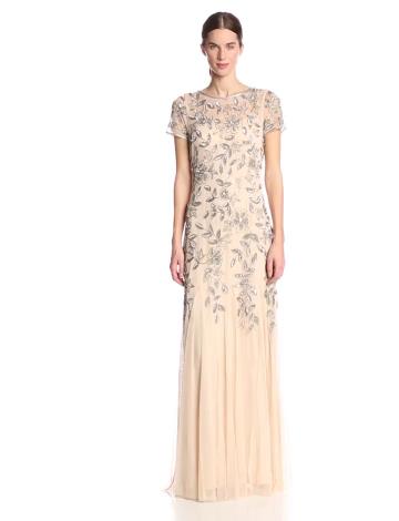 Adrianna Papell Damen Kleid Floral Beaded Godet, Maxi, Gr. 32 (Herstellergröße:Size 6), Beige (Taupe/Pink) - 3