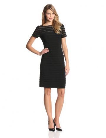 Adrianna Papell Damen, Plissee, Kleid, PARTIAL TUCK W SHORT SLV, Schwarz, 36 (Herstellergröße: Size 10) - 1