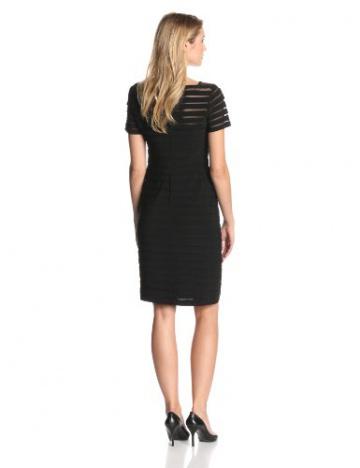 Adrianna Papell Damen, Plissee, Kleid, PARTIAL TUCK W SHORT SLV, Schwarz, 36 (Herstellergröße: Size 10) - 2