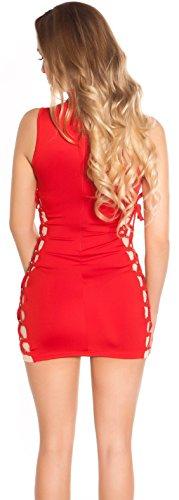 ärmelloses Minikleid mit raffinierter Schnürung * 34 36 38 * Kleid dress Damen Gogo Clubwear Party (K19458 900305 rot) - 3