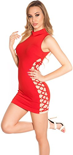 ärmelloses Minikleid mit raffinierter Schnürung * 34 36 38 * Kleid dress Damen Gogo Clubwear Party (K19458 900305 rot) - 1