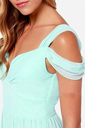AIYUE Damen Chiffon falten Kleider elegant mit tief V-Ausschnitt extraluxuriös CocktailKleid lang Maxikleid Abendkleid -