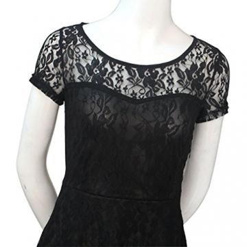 AIYUE Damen Rundhalsausschnitt Business Schick Spitzenkleid Kurzarm Knielang Sommerkleid Europa Stil Mini kleid Cocktailkleid Partykleid Abendkleid -